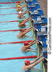 Start 3 - Start of the backstroke final