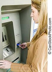 mulher, usando, ATM