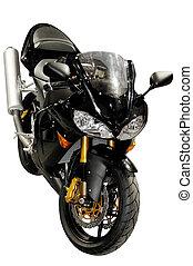Black racing motorcycle isolated - Black racing bike...