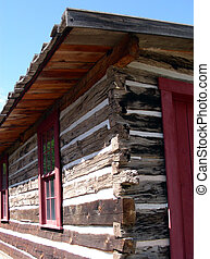 Old Log Home - Western settler home constructed with chinked...