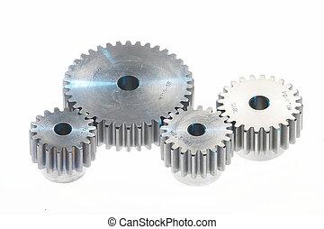 metal tooth-wheels, - four metal toothwheels