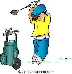 Cartoon golfer - Cartoon image of a golfer teeing off