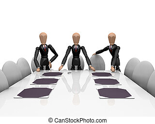 Business team - 3D render of a business team around a...