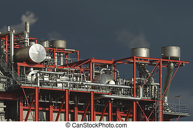 Complex industrial plant - Complex steelwork, pipes and...