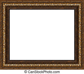 Antique rustic picture frame isolated - Antique wooden...