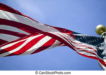 Stars and Stripes, t - The US flag flies in the breeze