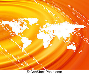 Orange World Map - A world map montage over a an orange...