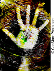 Hands in plastic bag texture digital composition
