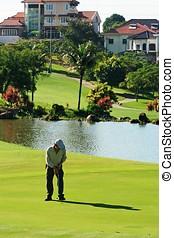Golfer in field.