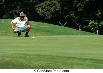 Golfer in action