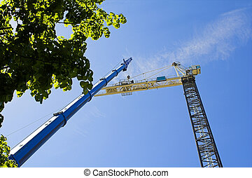 road work with high crane