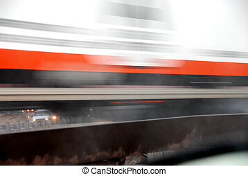 Moving truck blur - Motion blur of fast moving truck