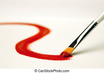 Painting - Red paint on white canvas