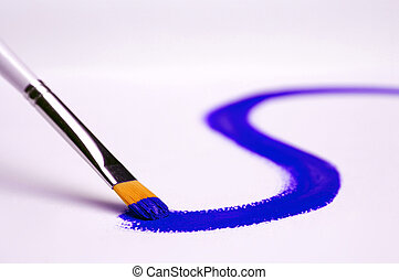 Painting - Blue paint on white canvas