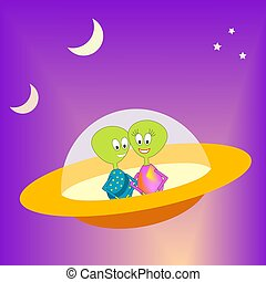 Alien sweethearts - Cartoon illustration of a couple of...