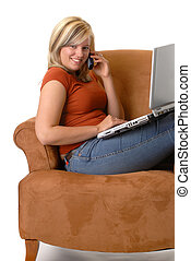 Relaxing - Beautiful Blond Young Woman Relaxing At Home,...