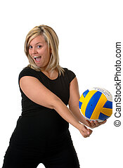 Volleyball Player - Woman Serving At Volleyball