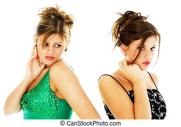 Teens in Formals - Portrait of two teen girls in formal...