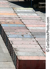 Freight Containers - Shipping containers in freight yard