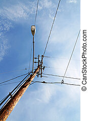 Telephone Poll with Street Lamp - Telephone poll with wires...
