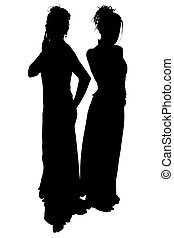 Silhouette With Clipping Path of Formal Ladies - Silhouette...