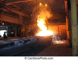 Smelting industry Factory hall Retapping of molten metal