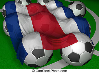 3D-rendering Costa Rica flag and soccer-balls - competitor...