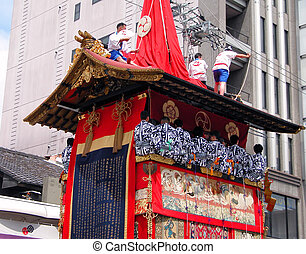 Gion matsuri chariot - Gion Matsuri chariot detail with men...