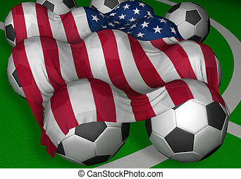3D-rendering USA flag and soccer-balls - competitor of World...