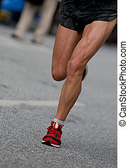 Marathon racer at the Hamburg Marathon 2006 in germany,...