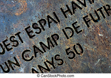 Metal texture - Rusty metal plate with text