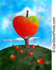 apple tree concept illustration