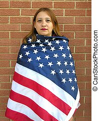 Indian woman US flag - American indian woman wrapped in US...