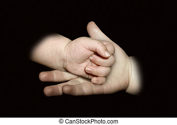 Come along - A child holding a babies hand