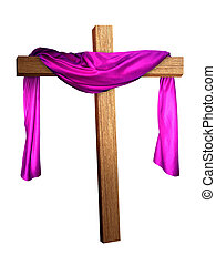 Cross in Purple - a cross with a purple cloth draped on it