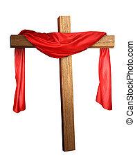 crucifixos, drapejado, vermelho