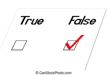 False-Angled - True and false question at an angle
