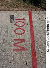 100 meter sign on the runway