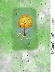 autumn tree card design made to look a bit aged and textured