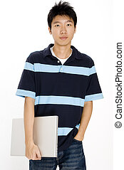 Asian Student - A young asian male with a laptop computer