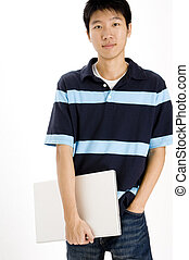 Happy Student - A causal chinese guy with laptop computer