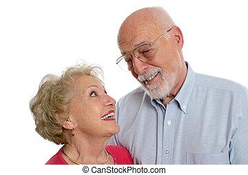 Sênior, par, privado, piada