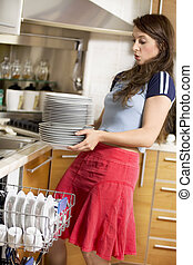 Washing-machine - dishes are too heavy for her