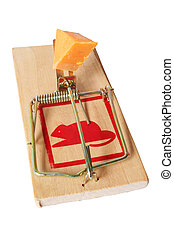 Isolated Mousetrap - Isolated wooden mousetrap with cheese...