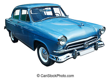 Classic blue retro car isolated - Old classic blue vintage...