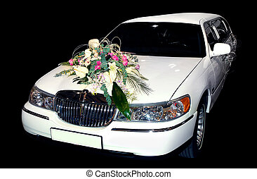 White wedding limo - White wedding decorated limousine car...