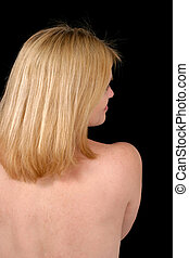 Bare Back on Black - Upper back of beautiful, sexy blonde...
