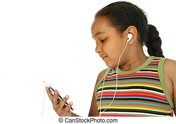 Digital Music - Girl with digital music player.