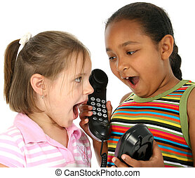 Telephone Calls - Two six year old friends talking on phone...