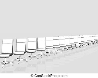 Row of Office chairs over white.